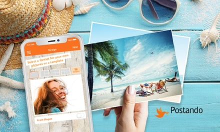1, 3 or 5 Paper Photo Postcards via Postando App, Including Shipping