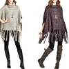 Women's Fringe-Accent Cowl Neck Poncho