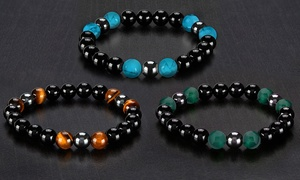 Unisex Hematite and Natural Stone Stretch Bracelet