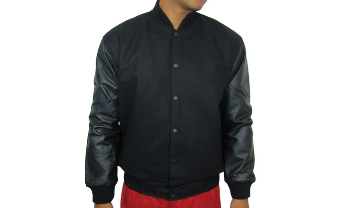 Men's Varsity Jacket with Genuine Leather Sleeves