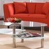Hodedah Oval Glass Coffee Table