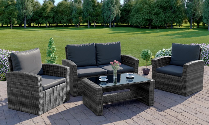 Abreo Algarve Rattan-Effect Four-Seater Sofa Set with Cushions