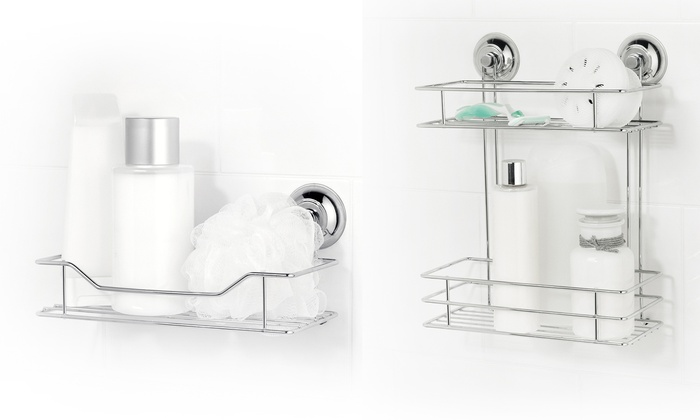 paniers douche ventouse chrome groupon shopping. Black Bedroom Furniture Sets. Home Design Ideas