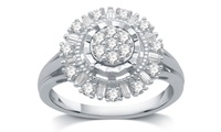 1/2 CTTW Diamond Sunflower Shaped Fashion Ring in Sterling Silver