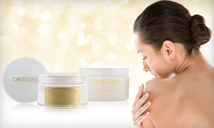 Oro Gold 24K Gold Body Butter and Scrub: $25 for Oro Gold 24K Gold Exclusive Body Butter and Devotion Body Scrub ($136 List Price)