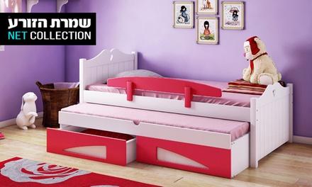 שמרת הזורע: מיטת ילדים דגם 'נסיכה' הכוללת מיטת חבר, 2 מגירות, מעקה בטיחות ו-2 מזרנים אורתופדיים