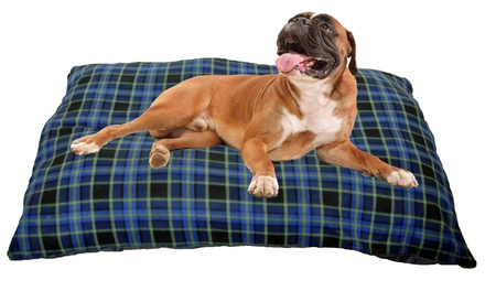 Kosipet BlueCheck Fleece Jumbo CushionStyle Dog Bed