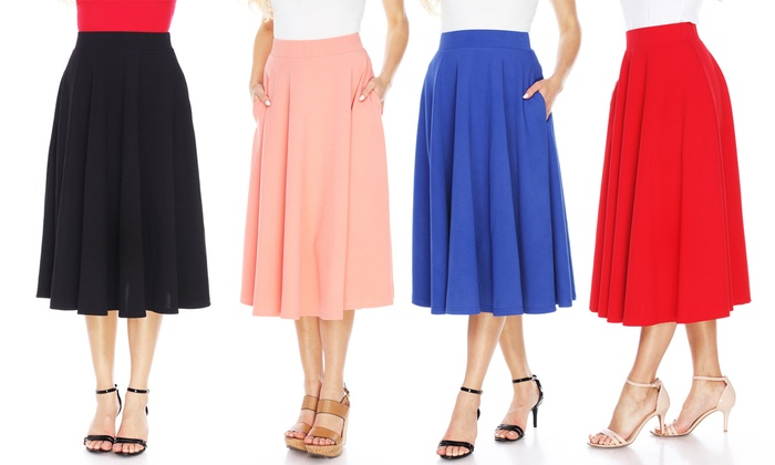 60% Off on Women's Midi Skirt with Pockets | Groupon Goods