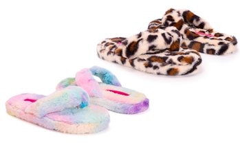 Betsey Johnson Women's Fluffy Flip Flop Slippers (Up to Size 11-12)