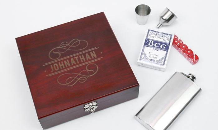 Monogram Online: One or Two Personalized Flask Sets from Monogram Online (Up to 65% Off). Four Options Available.