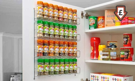 Chrome Spice Rack Jar Holder for Wall or Kitchen Cupboard from £4.98