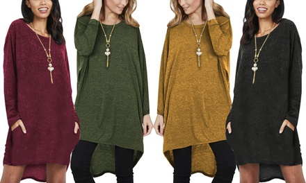 Oversized Necklace Jumper Dress with Pockets in Choice of Colour