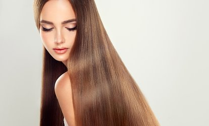 Haircut with Wash, Blow-Dry, and Deep Conditioning or Partial Highlights at Epidavros Day Spa (Up to 52% Off)