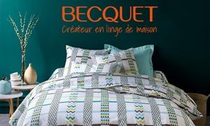 Becquet: Draps, couettes... Bon d'achat de 5 € donnant droit à 50 € et livraison gratuite sur le site Becquet dès 99 € d'achats