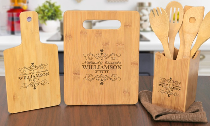 Monogram Online: Custom Bamboo Serving Board, Cutting Board, Utensil Holder, or All Three from Monogram Online (Up to 80% Off)