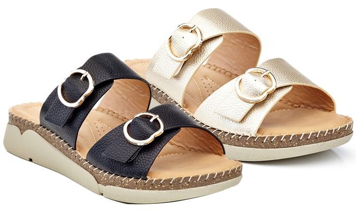 0ce8e98d0c99 Henry Ferrera Women s Double Buckle Slip-On Sandals