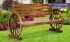 Wooden Wagon Wheel Garden Bench