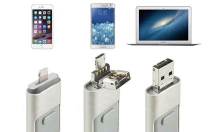 Clés USB 3 en 1, lightning/micro USB pour Apple/Android et PC, de 64 Go ou 128 Go au choix