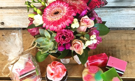 Gift Hamper with Flowers, Soaps and Cupcake - Pick-Up ($30) or Delivered ($40) at The Honeybunch Shop (Up to $70 Value)