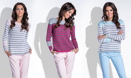 Strickpullover Zelda mit Streifenmuster und langen Ärmeln für Damen in Blau, Grau oder Rosa