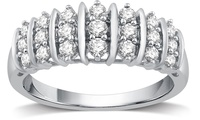 DeCarat 1/2 CTTW Genuine Diamond Fashion Band (Sterling Silver)