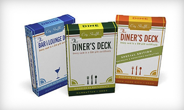 City Shuffle: One or Three Decks of 52 Gift Cards for Manhattan and Brooklyn Restaurants and Bars from City Shuffle (Up to 56% Off)