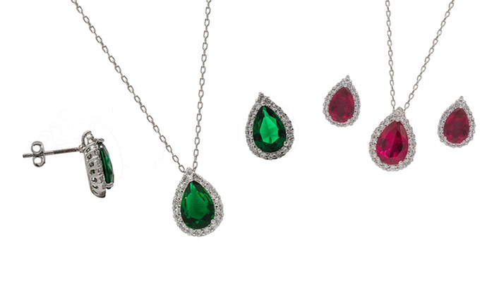 Simulated Gemstone Earring and Pendant Set: Simulated Gemstone Earring and Pendant Set. Multiple Options Available.