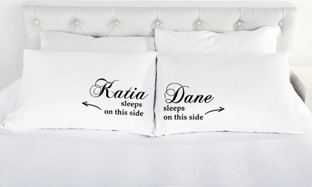 $15 for a Two Piece Personalised Couple Pillowcase Set (Dont Pay $57)