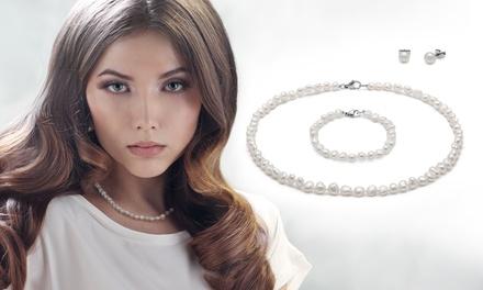 Set de collar, pulsera y pendientes OMG Jewel de perlas de agua dulce