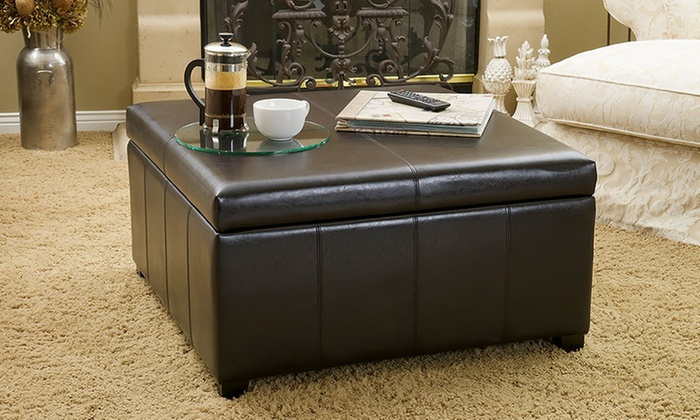 Merveilleux Berkeley Bonded Leather Square Storage Ottoman ...