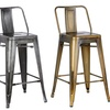 Modern Lightweight Industrial Metal Bucket Barstool (Set of 2)