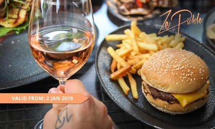 Burger + Fries and Wine for One $17, Two $34 or Four People $68 at Ze Pickle Fortitude Valley Up to $152 Value