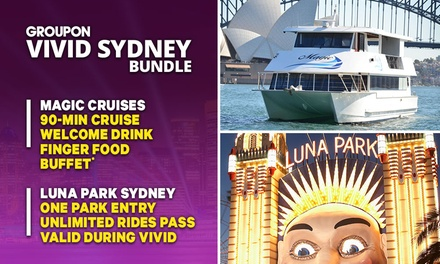 VIVID + LUNA PARK BUNDLE: 90Min Vivid Cruise + Finger Food for Magic Cruises Plus Luna Park Unlimited Rides Pass