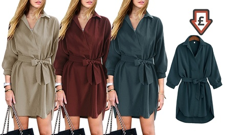 Belted Shirt-Style Dress