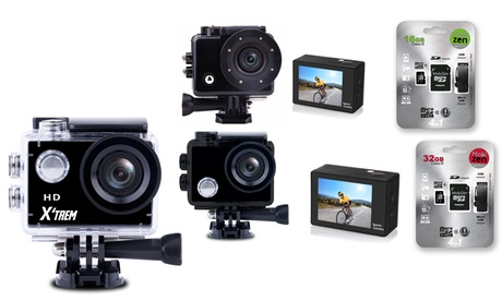 Cámaras deportivas HD, Full HD o 4K con opción a tarjeta de memoria SD de 16, 32 o 64GB y/o accesorios