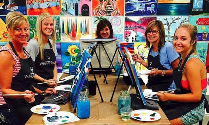 Two hour painting class wine design williamsburg groupon for Groupon painting class