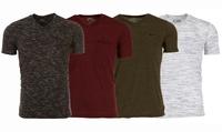 4-Pack Vertical Sport Men's V-Neck T-Shirt with Chest Pocket (S-2XL)