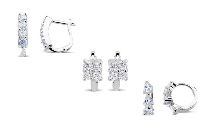Cubic Zirconia Huggie Earrings: Cubic Zirconia Huggie Earrings in Rhodium Plated Sterling Silver
