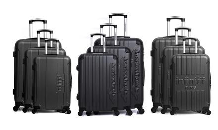 3er-Set Reisekoffer aus strapazierfähigem ABS-Material in Schwarz und im Modell nach nach Wahl (Hamburg)