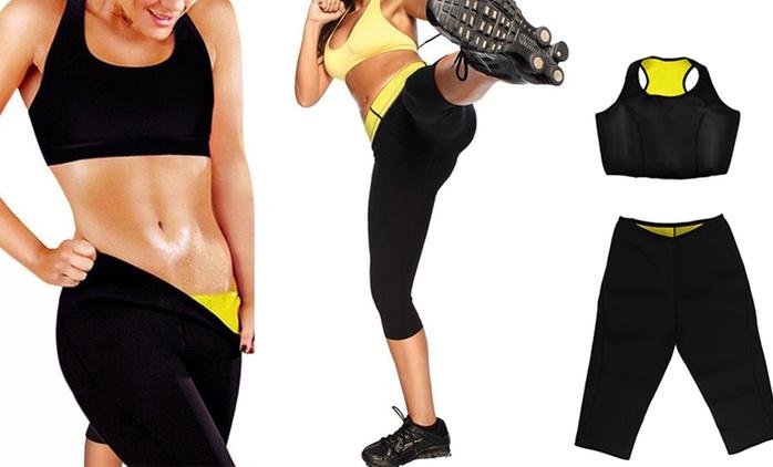 Pantaloncino e top fitness a effetto sauna da 5,99 €