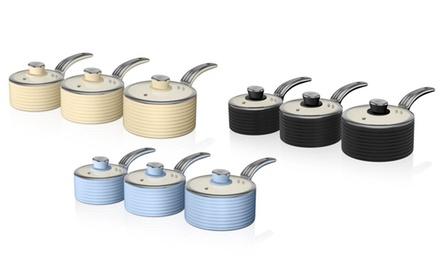 Swan Retro Three-Piece Saucepan Set With Free Delivery
