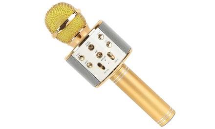 1, 2 o 3 micrófonos karaoke dorados
