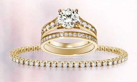 2 bagues et bracelet Rivière dorés à l'or jaune 18 carats et ornés de cristaux de Swarovski®dès 10,90 €