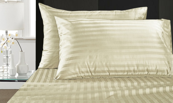 Gentil ... Addy Home 1,000 Thread Count Egyptian Cotton Damask Stripe Sheet Sets  ...