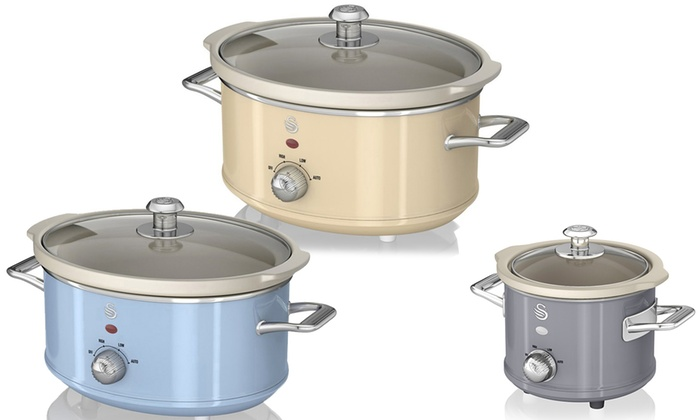 Swan 1.5L, 3.5L or 6.5L Retro-Style Slow Cooker