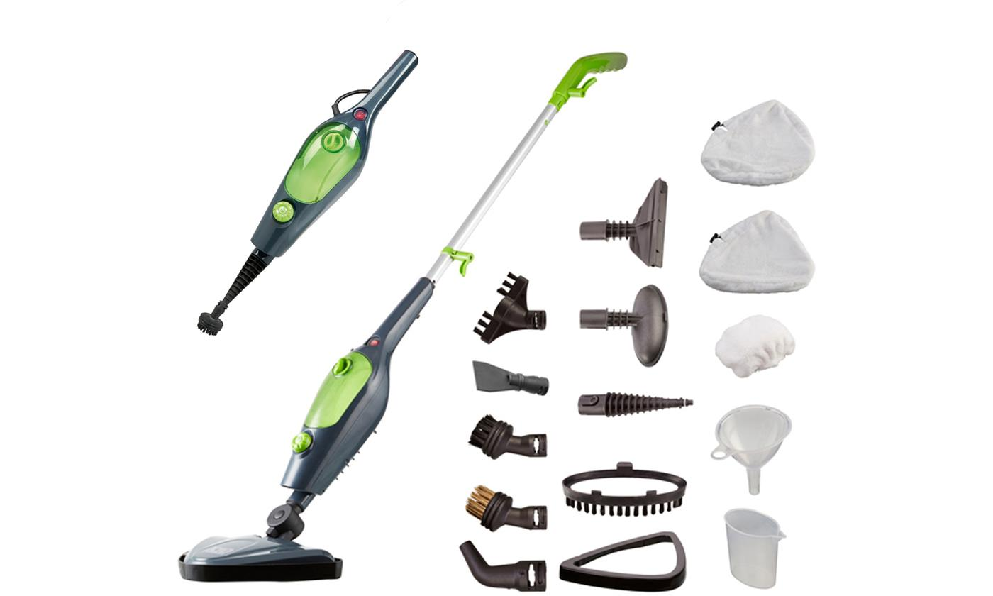 Easy Steam X10 10-in-1 1500W Multi-Functional Steam Mop with 11-Piece Accessory Kit and 2 or 7 Extra Mop Heads