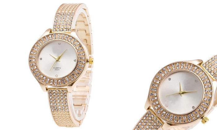 Orologio Riley Da Donna Placcato Oro 22 Kt Con Cristalli Di Swarovski A 14 99 74 Di Sconto