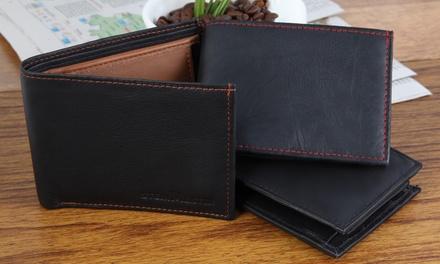 1 ou 2 portefeuilles en cuir avec surpiqûres colorées