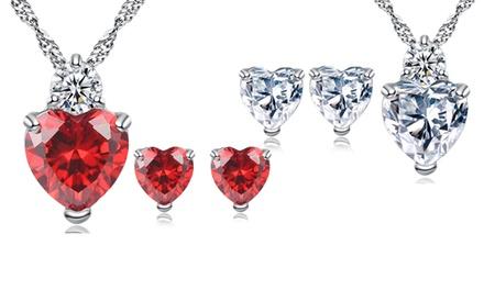 Set de joyería con Swarovski®: collar con colgante y pendientes Love Heart