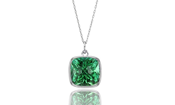 3 ctw emerald pendant groupon goods 300 ctw cushion cut emerald pendant in sterling silver aloadofball Images